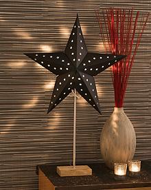 sort papirstjerne eikefot vindu konstsmide