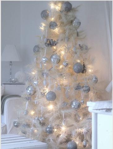 Hvitt juletre i fjær med sølvkuler