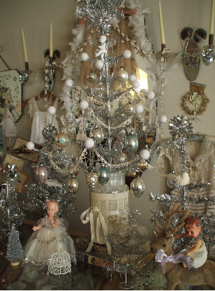 Juletre i sølv med sølvdekor