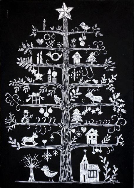 Tavlestickers med juletre hjemme tegnet