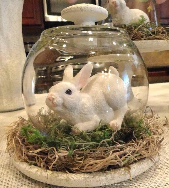 Påskedekorasjon kanin i glassklokke