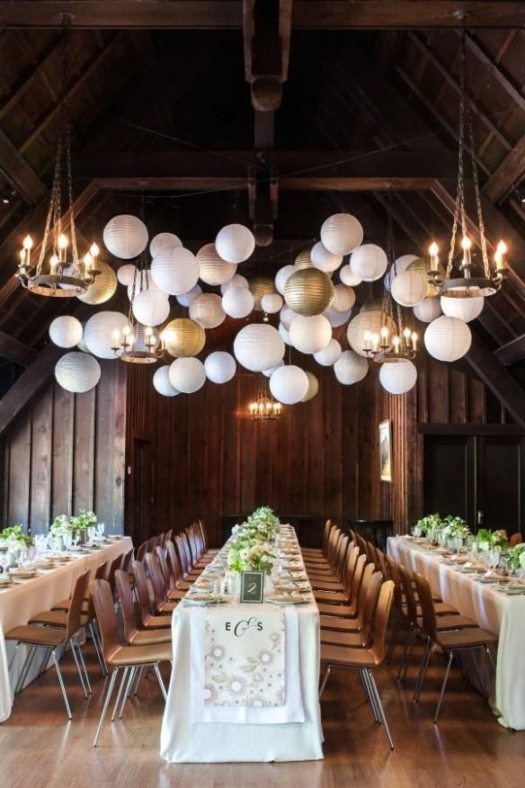 Papirlanterner bryllup sprayet med gull