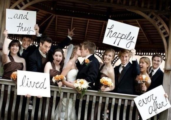 fototips brudepar og gjester plakater