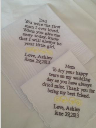 tips bryllup serviett brodert til far og mor til bruden