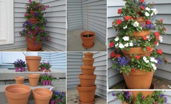 Terrakotta potter tårn blomsterpotter planting lindaslillleverden