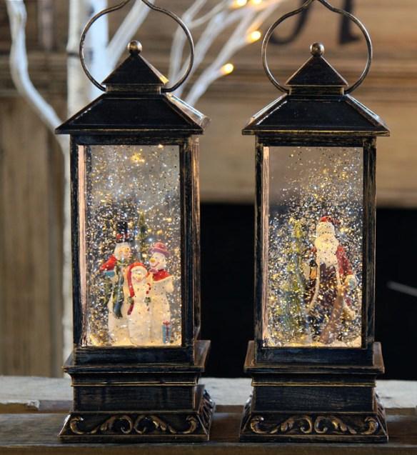 samlebilde vannfylte lykter glitter snømann julenisse