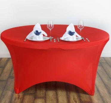 Bordtrekk spandex rundt bord rødt