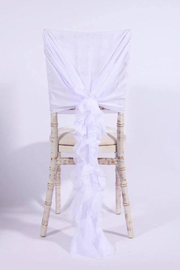 Stor dekorsløyfe til stol hvit