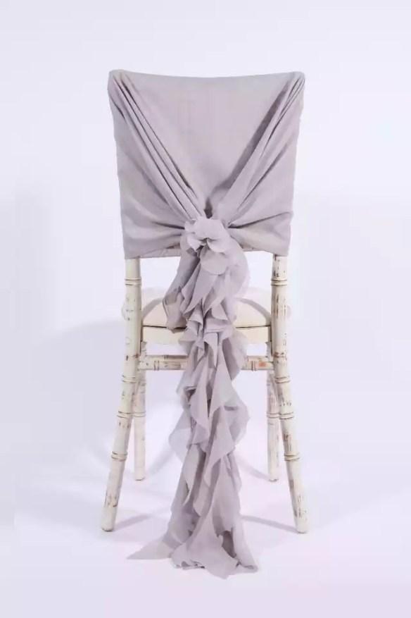 Stor dekorsløyfe til stol lys grå