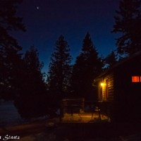 A north woods cabin at dusk