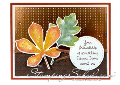 Stitched Leaves Fall Card