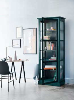 Image of Lindebjerg Design Green Color N1 vitrine Cabinet in a creative room with interior