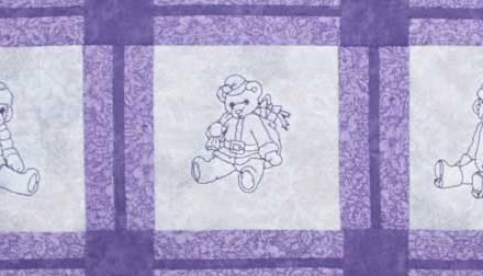 Winter Teddies Bluework in Purples