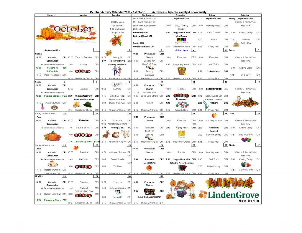 1st Floor Activity Calendar