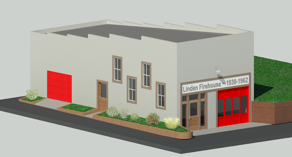 Conceptual computer-rendered image of 1939 Firehouse after restoration created by Lucas Allen in June 2016.