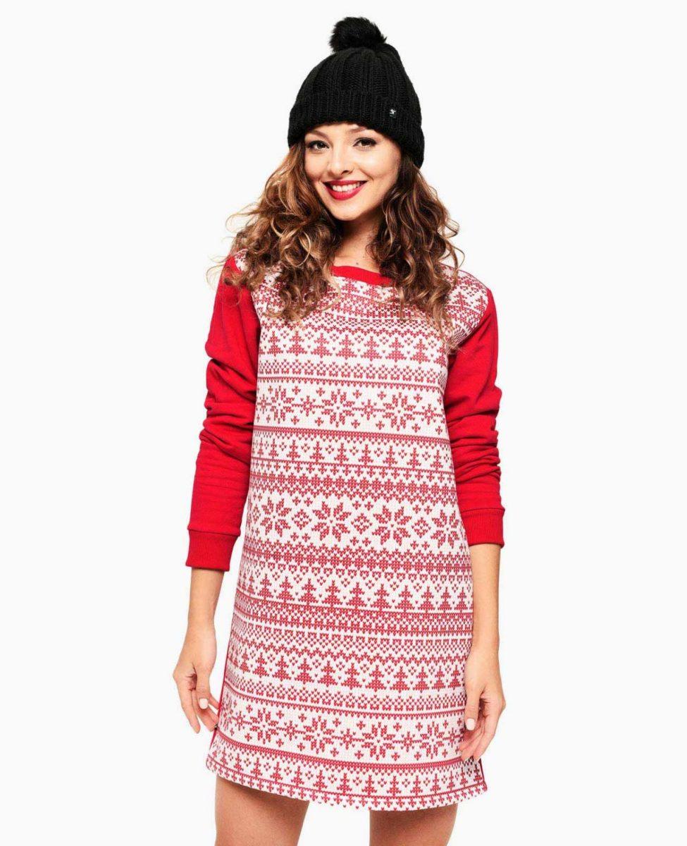 Weihnachtskleid Damen Gro/ße Gr/ö/ßen mit /Ärmel O-Neck A-Line Partykleider Cocktailkleider Weihnachten Mini Kleid