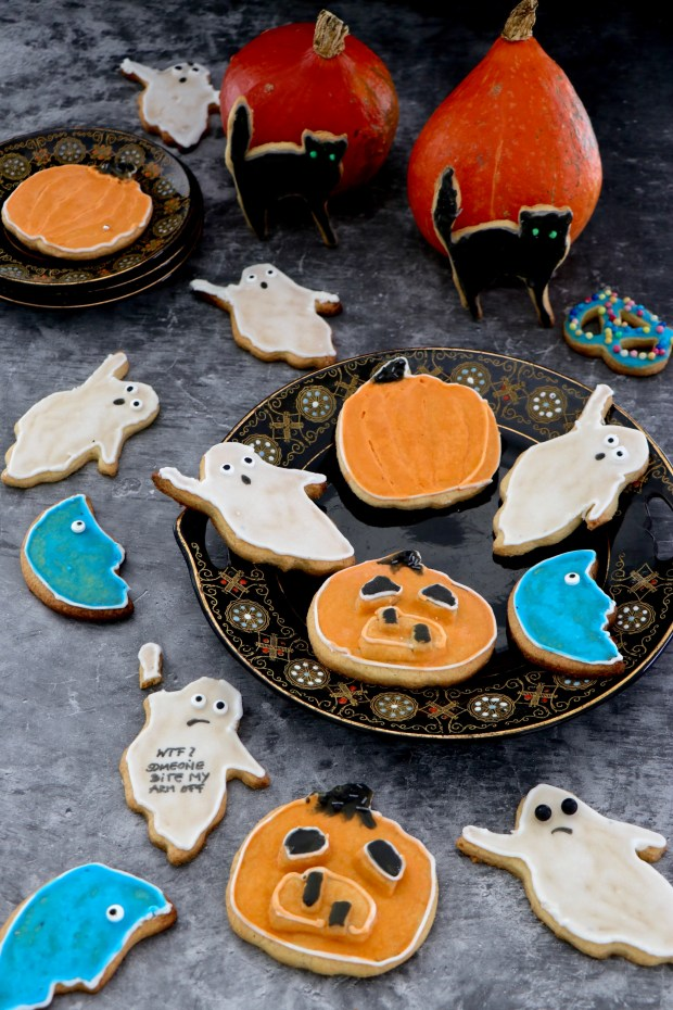 Halloween  Kekse  als Kürbis ,  Katze und Gespenst
