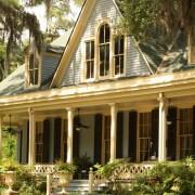 vegetation against house
