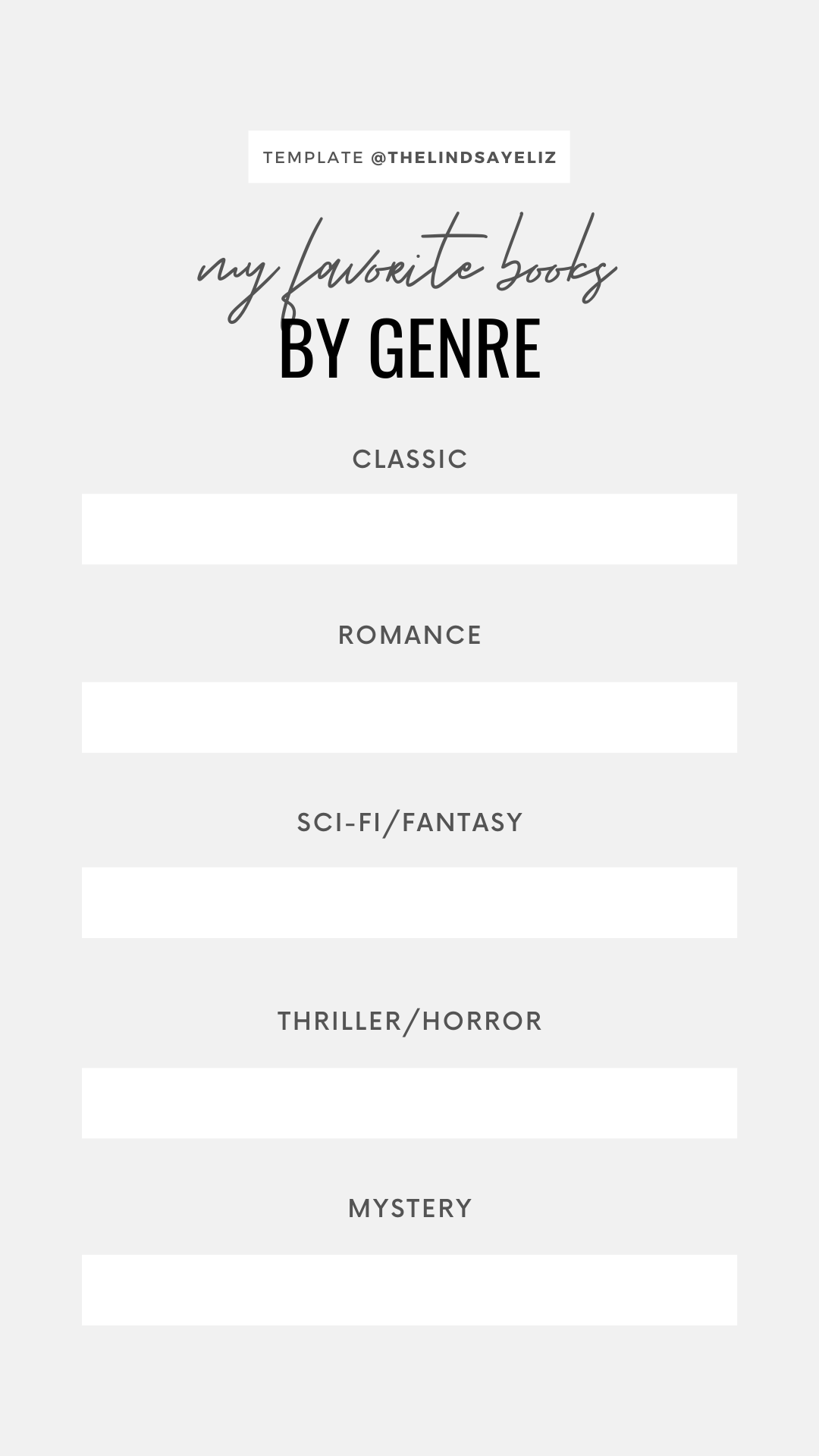 Share your favorite books in each genre with this bookish IG template. Be sure to also click through for more Instagram story templates for book lovers to share your favorite books, preferences, and opinions with your followers. #bookish #igstories #igtemplates #templates #bookastagram