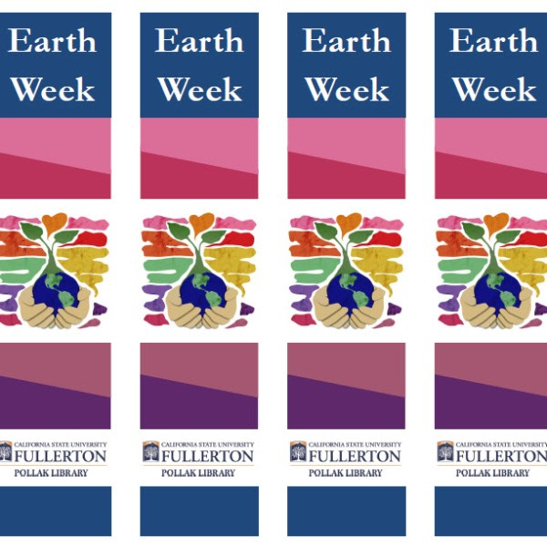 "Bookmarks designed as a giveaway for library Earth Week event. Image Credit for the hands holding the earth: ""earth day 2010"" by DeviantArt user v-collins, http://v-collins.deviantart.com/art/earth-day-2010-161568870. Used under CC-BY-SA 3.0."