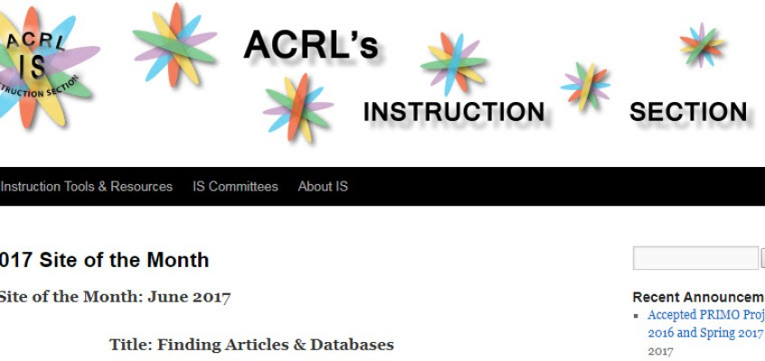 Spark Tutorials recognized as ACRL-IS Site of the Month!