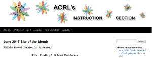 screenshot of ACRL instruction section blog