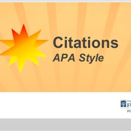 Screenshot of title slide of Citations APA Style