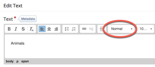 "text editing bar with ""Headings"" circled"