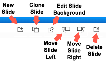 buttons to edit and move slides
