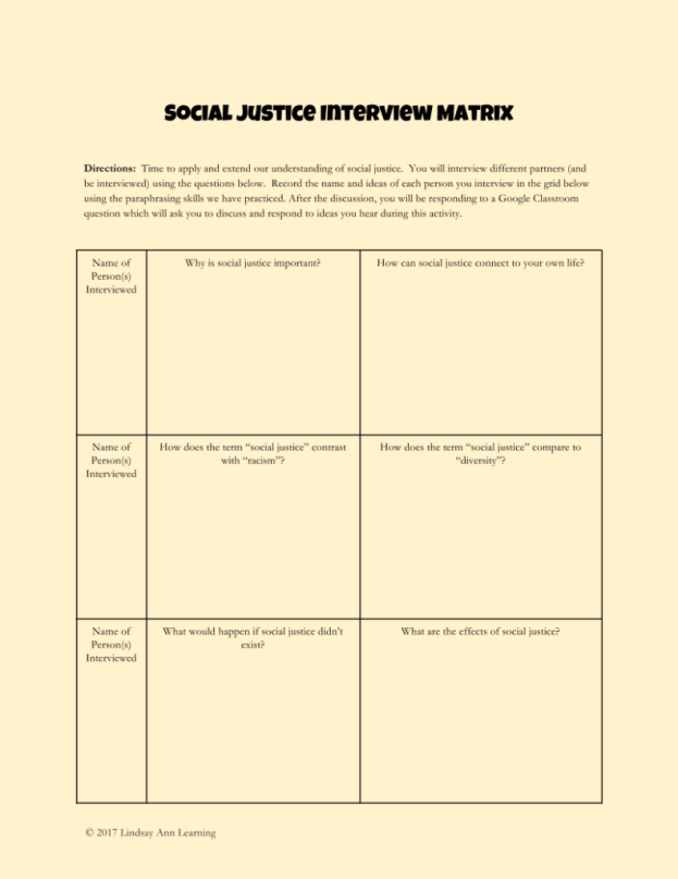 Small Group Discussion Interview Matrix