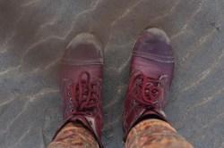 Purple boots and a machete.