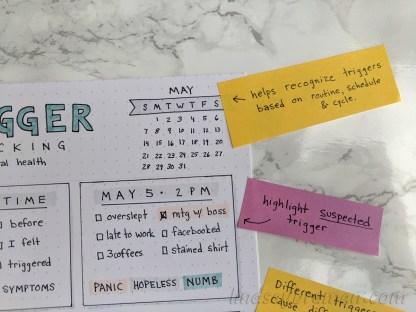 Minimalist Bullet Journal Layout - Mental health trigger tracking