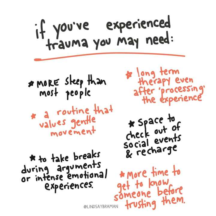 Messy. Accurate. People are often surprised to learn that most of #trauma therapy isn't actually talking directly about trauma- it involves getting to know ourself and our needs without judgement, learning to extend genuine kindness and care inward, and growing skills to advocate for what we need to thrive. The concept behind this doodle is Allostatic Load, which I'll be unpacking a little more in a post later this week. - from Instagram