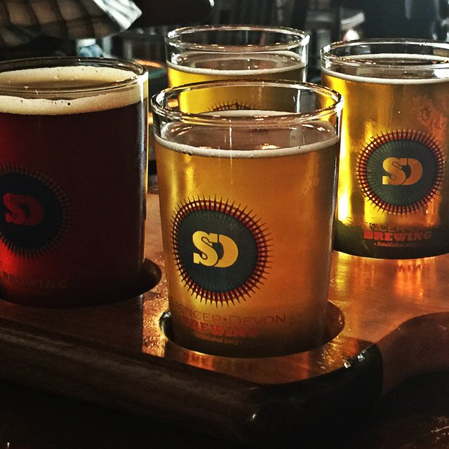 The pick four flight at Spencer Devon Brewing