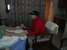 Wes Rubbing My Feet During Labor