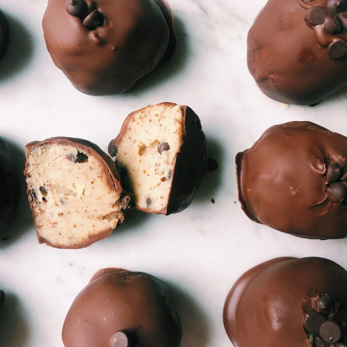 no bake chocolate coated cookie dough bites