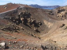 An active crater on the top of Nea Kameni