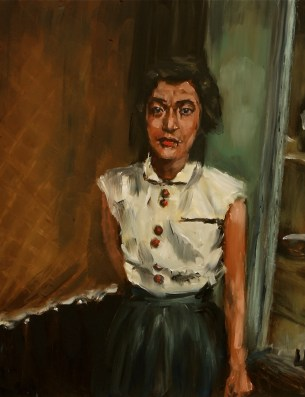"The Waitress, Otsu City / oil on panel / 11""x14"" / Sold"