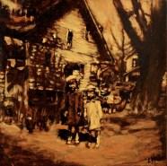 "Little Sister, Big Sister / Oil on Panel / 8"" x 8"" / Sold"