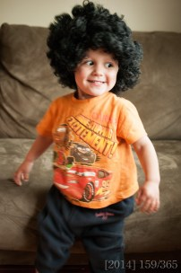 "We found Shasta's ""Nuni wig"" from Halloween a couple years ago. how funny is he??"