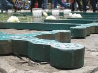 Crosses laid at site of protest, San Cristóbal de las Casas