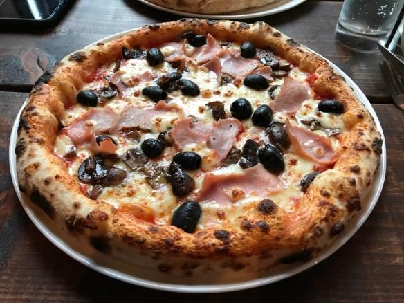Ham, Mushroom and Olive Pizza