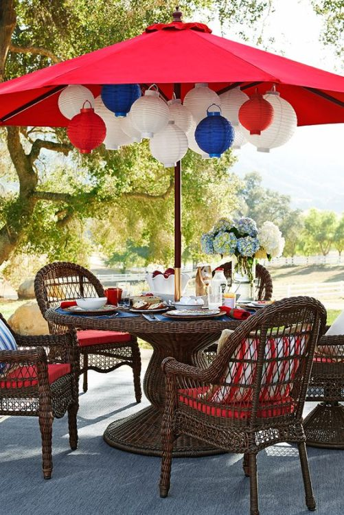 Red White and Bue Lanterns