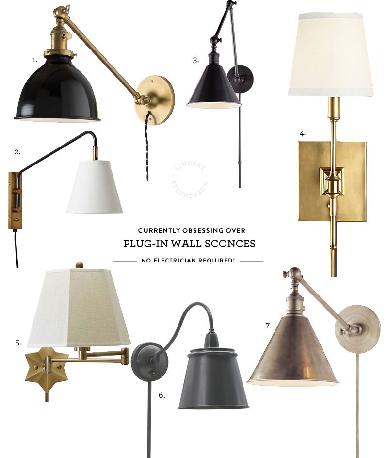 Obsessed With / Plug-in Wall Sconces • Lindsay Stephenson on Plugin Wall Sconce Lights id=73306