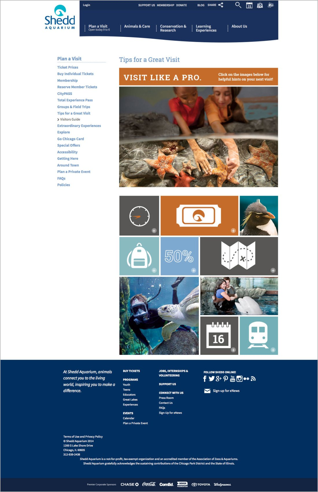 A screenshot of a webpage, featuring a top navigation, side navigation, and footer area. In the content area under the title, 'Tips for a Great Visit' is an infographic consisting of many square and rectangular cells pieced together to form a mosaic, under a large intro photo featuring two girls reaching into a seastar touch habitat. The icons in the mosaic area are placed on colorful, orange, teal and blue backgrounds and interspersed with photos of people and animals.