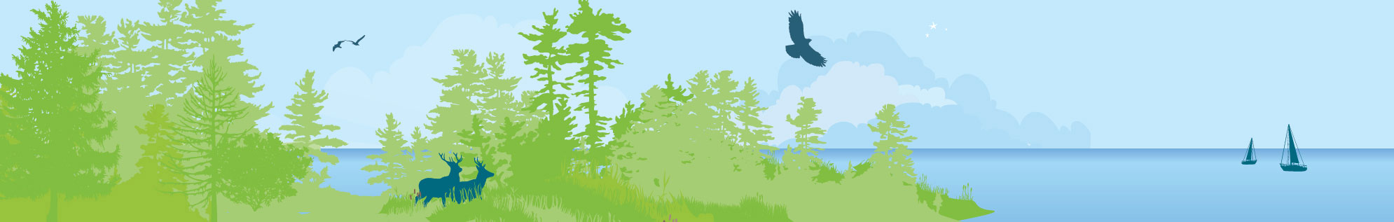 A section of the great lakes header illustration showing a forest with the silhouettes of local animals -- deer and a hawk -- and the wide expanse of freshwater lake in the background.