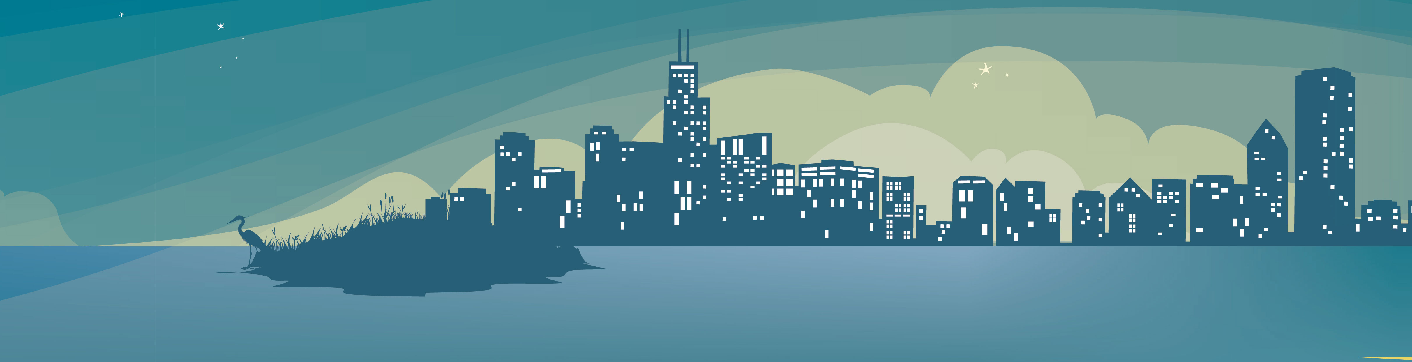 A small section of header illustration, featuring the chicago skyline as evening comes in and the buildings' windows light up.