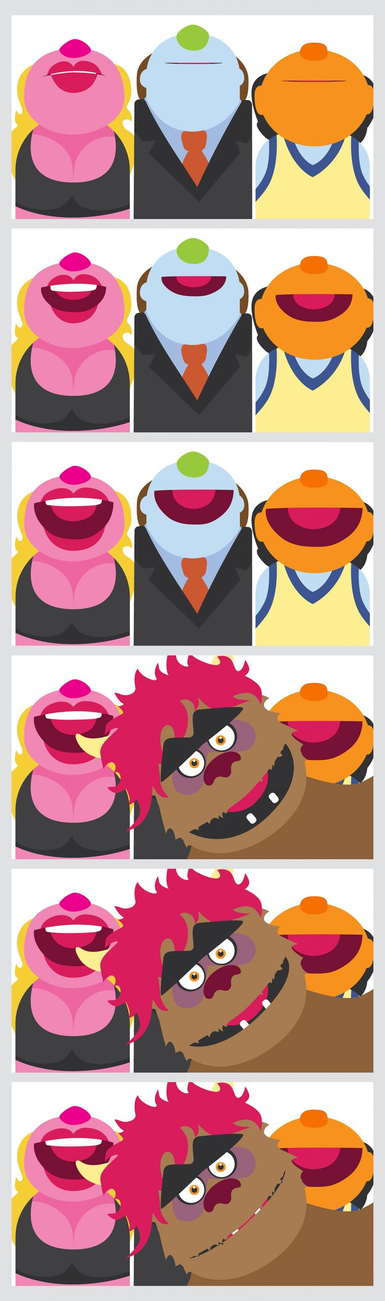 Three muppet-like puppets are shown in six separate illustrations, standing side-by-side with their mouths slowly opening as the images progress towards the bottom of the set. In the last three frames, a fuzzy, pink-haired puppet pops in from the side of the frame.