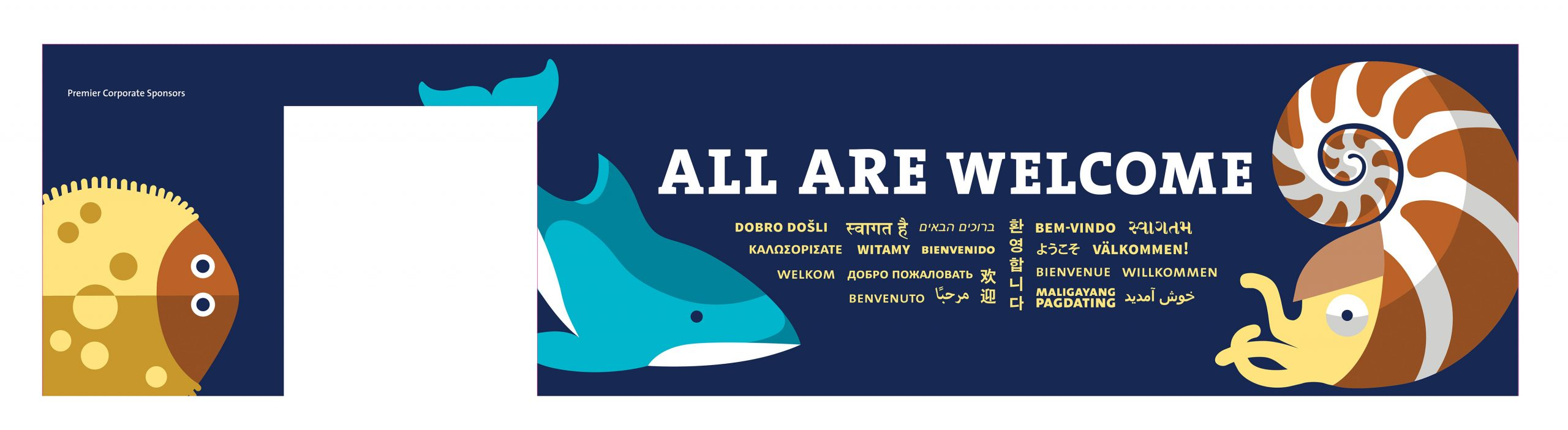 A flat plan for a wall wrap featuring the title 'All Are Welcome' in many languages with the geometric illustration of a dolphin, a nautilus and a flatfish.