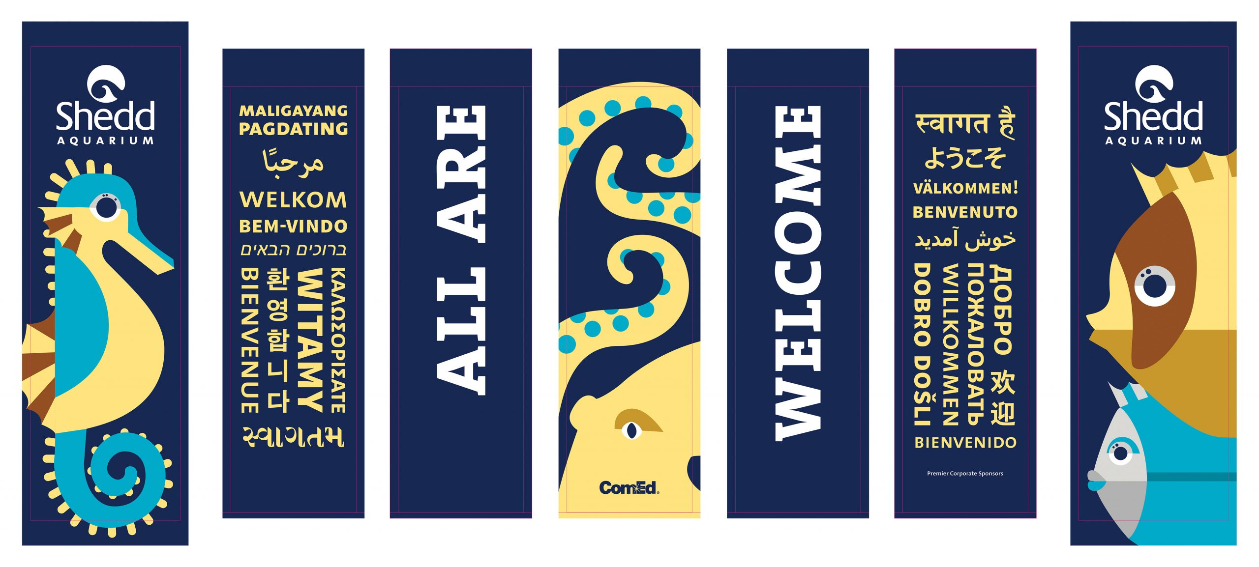 Seven vertical banner designs reading 'All Are welcome' in many languages and framed by geometric illustrations of a seahorse, an octopus and two fish.